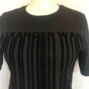 Alexander Wang flocked black velvet sh sl tshirt
